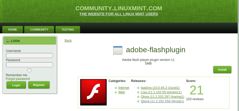 actualizar flash player en linux mint