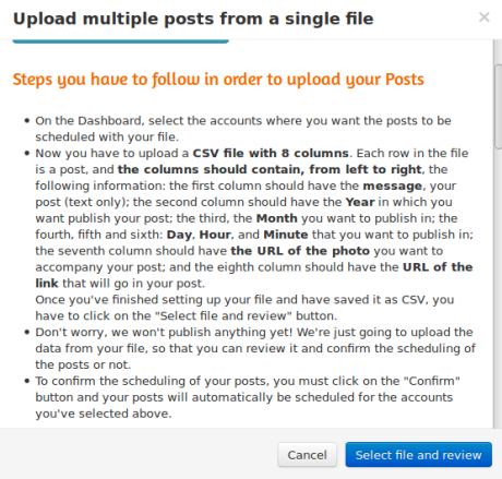 bulk uploader de postcron