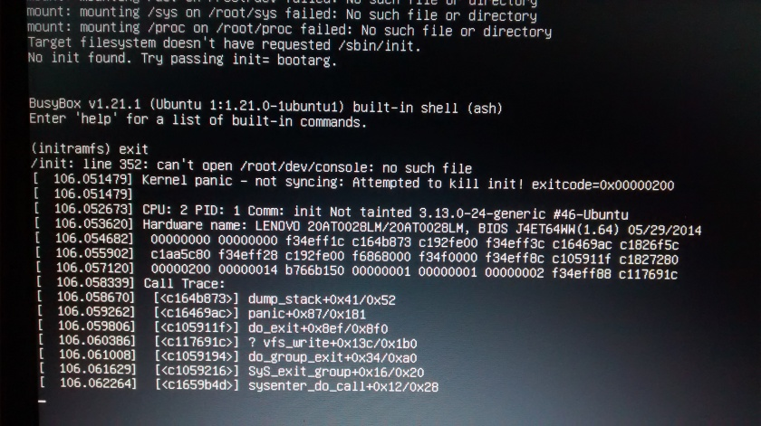 kernel panic en linux mint