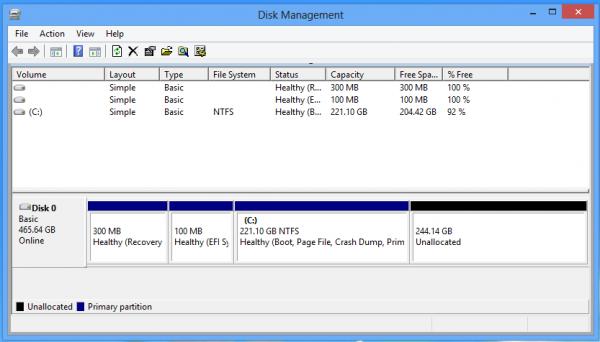 gestion de particiones en windows