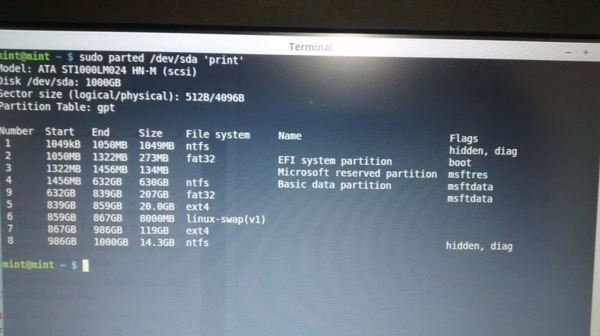 parition table with command linux