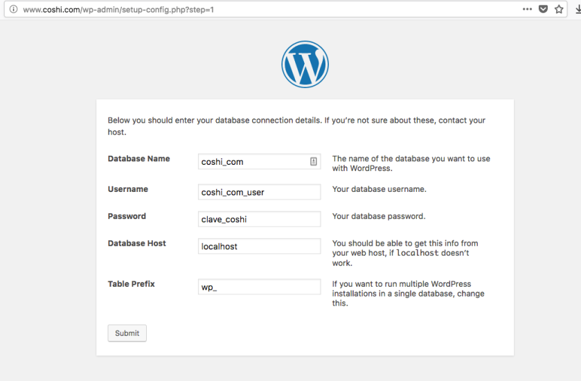 configurar wp-config wordpress nuevo en clouding.io